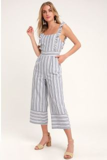 Emilia Rae Striped Jumpsuit