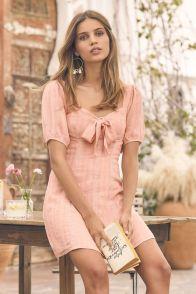 Madeline Blush puff sleeved mini