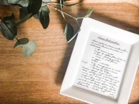 handwritten recipe plate